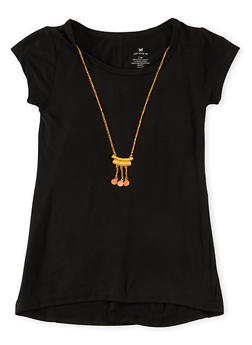 Girls 7-16 Crew Neck Tunic Top with Necklace and Slit Back - 1635061950015