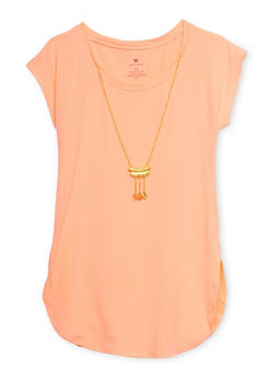 Girls 7-16 Rounded Hem Top with Removable Necklace - 1635061950016