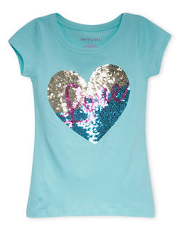 Girls 7-16 Tee with Sequined Heart and Love Graphic - 1635061950022