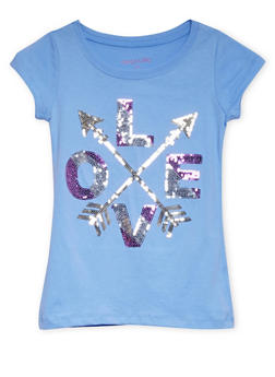 Girls 7-16 Crew Neck Top with Sequined Love Graphic - 1635061950025