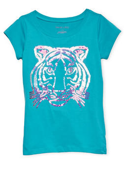 Girls 7-16 Tee with Sequin Tiger Graphic - 1635061950030