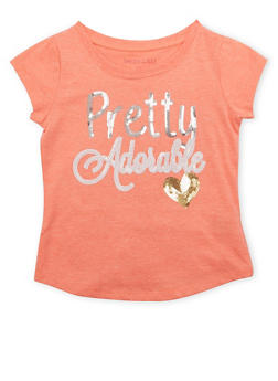 Girls 7-16 Tee with Sequined Pretty Adorable Graphic - 1635061950080
