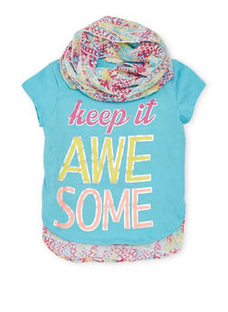 Girls 7-16 Keep It Awesome Graphic Top with Scarf - 1635061950081