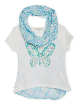 Girls 7-16 Short Sleeve Butterfly Graphic Top with Chiffon Scarf - 1635061950091