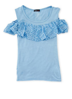 Girls 7-16 Lace Ruffled Cold Shoulder Top - 1635061950135