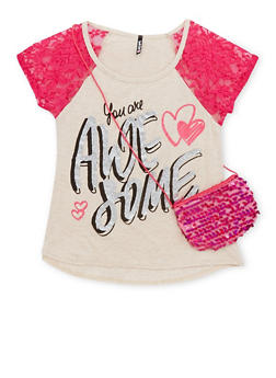 Girls 7-16 You are Awesome Graphic Top with Crossbody Bag - 1635061950145