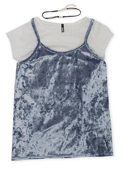 Girls 7-16 Layered Tee with Crushed Velvet Cami and Choker Necklace - 1635061950152