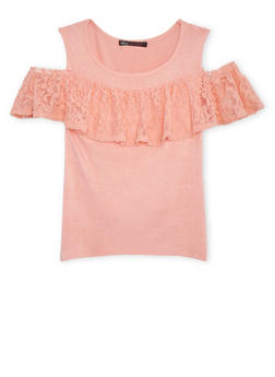 Girls 7-16 Lace Ruffled Cold Shoulder Top - 1635061950170