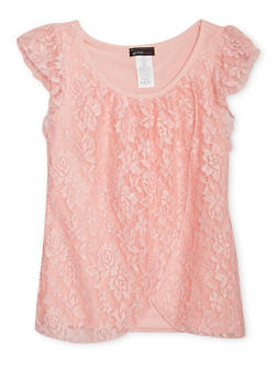 Girls 7-16 Lace Tulip Top with Cap Sleeves - 1635061950172