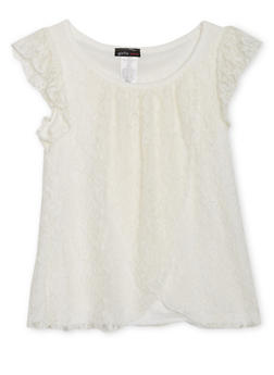 Girls 7-16 Lace Tulip Top with Ruffled Sleeves - 1635061950173