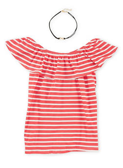 Girls 7-16 Striped Off the Shoulder Ruffle Top with Choker - 1635061950182