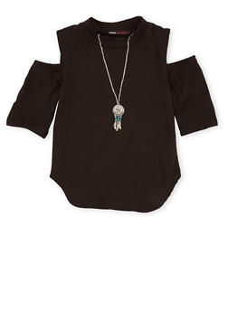 Girls 7-16 Short Sleeve Cold Shoulder Top with Necklace - 1635061950187