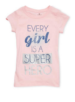Girls 7-16 Every Girl is a Superhero Graphic Top - 1635061950195