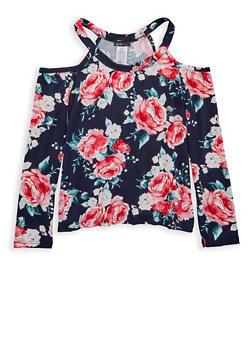 Girls 7-16 Floral Cold Shoulder Top - 1635061950197