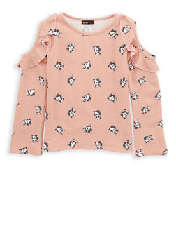 Girls 7-16 Panda Print Cold Shoulder Top - 1635061950207