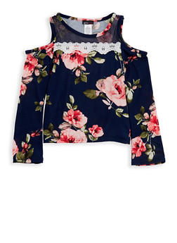 Girls 7-16 Floral Cold Shoulder Top with Mesh Insert - 1635061950216