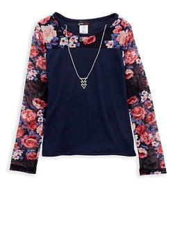 Girls 7-16 Navy Floral Mesh Top with Detachable Necklace - 1635061950222