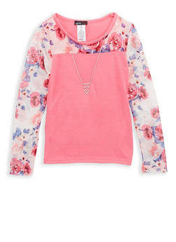 Girls 7-16 Pink Floral Mesh Top with Detachable Necklace - 1635061950224