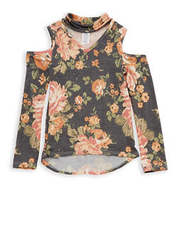Girls 7-16 Floral Keyhole Neck Cold Shoulder Top - 1635061950226