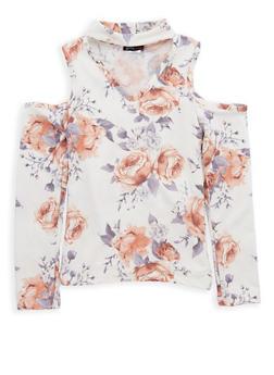 Girls 7-16 Floral Print Cold Shoulder Top - 1635061950228