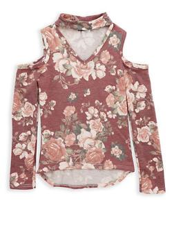Girls 7-16 Berry Floral Cold Shoulder Top - 1635061950231