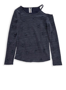 Girls 7-16 Denim Knit Destroyed Long Sleeve Shirt - 1635061950234