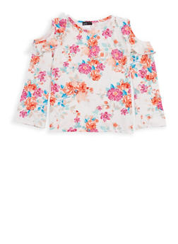 Girls 7-16 Floral Soft Knit Cold Shoulder Top - 1635061950238