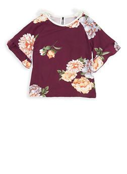 Girls 7-16 Floral Slit Sleeve Top - 1635061950253