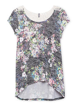 Girls 7-16 Floral Knit Top with Crochet Panel - 1635061959740