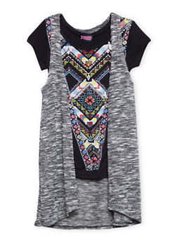 Girls 7-16 Abstract Print Top with Attached Vest - 1635061959742