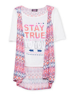Girls 7-16 Vest and Graphic Tee Combo - 1635061959744
