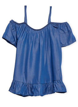 Girls 7-16 Cold Shoulder Chambray Top with Spaghetti Straps - 1635061959747