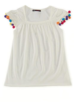 Girls 7-16 Knit Tee with Pom Pom Trimmed Sleeves - 1635061959749