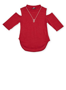 Girls 7-16 Cold Shoulder Top with Necklace - 1635061959972