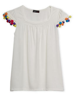 Girls 7-16 Flutter Sleeve Top with Pom Pom Trim - 1635061959975