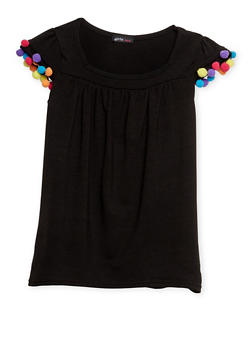 Girls 7-16 Flutter Sleeve Top with Pom Pom Trim - 1635061959976