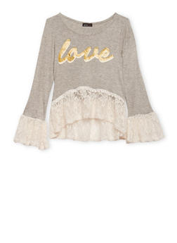 Girls 7-16 Lace Bell Sleeve Top with Love Graphic - 1635061959978