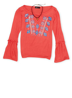 Girls 7-16 Graphic Top with Choker Necklace - 1635061959982