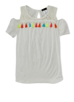 Girls 7-16 Lace Yoke Cold Shoulder Top with Multi Color Tassels - 1635061959986