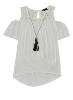 Girls 7-16 Lace Yoke Cold Shoulder Top with Necklace - 1635061959988