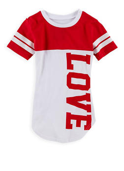 Girls 7-16 Color Block Love Graphic T Shirt - 1635063400003
