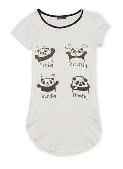Girls 7-16 Ringer Tunic Tee with Panda Graphic - 1635066590001