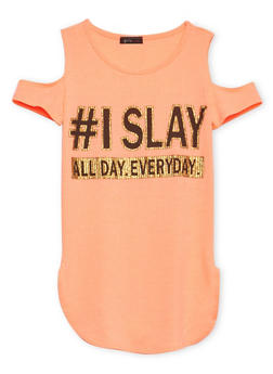 Girls 7-16 Tunic Top with I Slay All Day Every Day Graphic - 1635066590005
