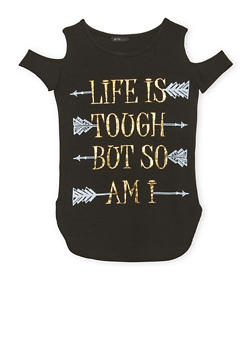 Girls 7-16 Cold Shoulder Top with Life is Tough Graphic - 1635066590006
