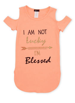 Girls 7-16 Cold Shoulder Top with I Am Not Lucky Im Blessed Print - 1635066590008