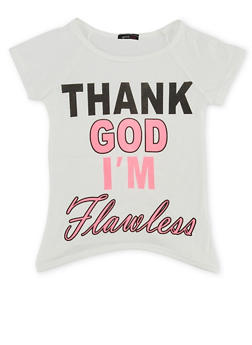 Girls 7-16 High Low Top with Thank God Im Flawless Graphic - 1635066590010