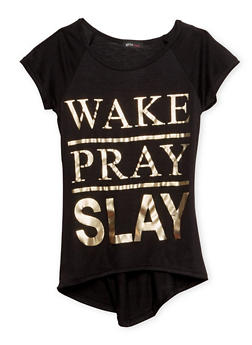 Girls 7-16 Tee with Eat Pray Slay Gold Foil Graphic - 1635066590011