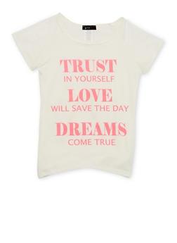 Girls 7-16 Raglan Sleeve Tee with Dreams Come True Graphic - 1635066590013