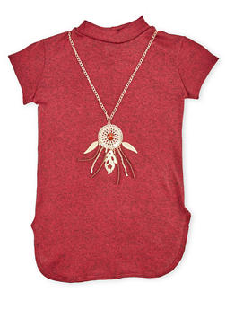 Girls 7-16 Marled Mock Neck Top and Necklace with Dreamcatcher Charm - 1635066590020