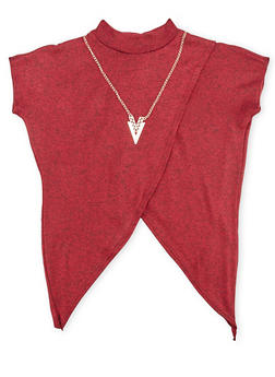 Girls 7-16 Marled Mock Neck Top with Tulip Hem and Necklace - 1635066590021